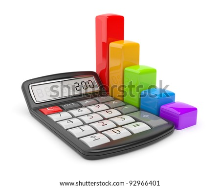 Calculator and colorful chart. Icon 3D. Business concept. Isolated on white. - stock photo