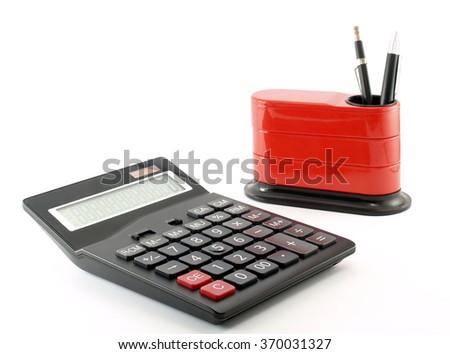 calculator and desk organizer isolated on white background - stock photo