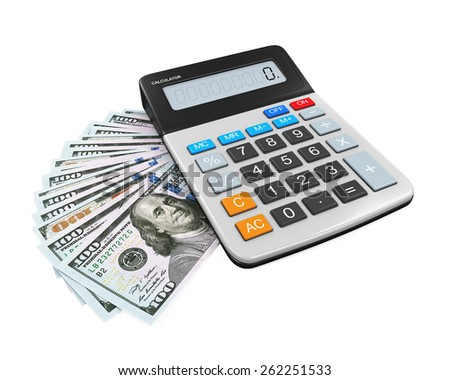 Calculator and Dollars - stock photo