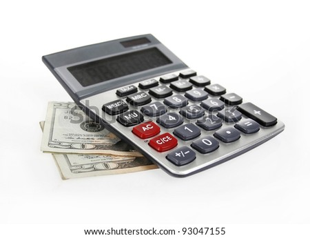Calculator and money of $20 banknotes on a white background - stock photo