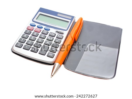Calculator and orange pen in the background scheduler - stock photo