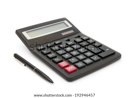Calculator and pen isolated on white background - stock photo