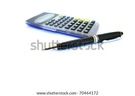 Calculator and pen isolated on white background. - stock photo