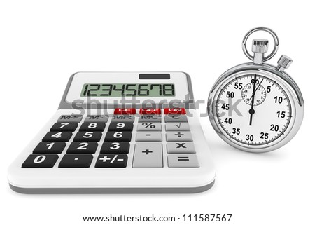 Calculator and StopWatch on a white background - stock photo