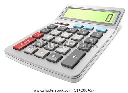 Calculator. Classic Calculator on white background. - stock photo