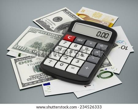 Calculator, dollar and euro bills on gray surface. - stock photo