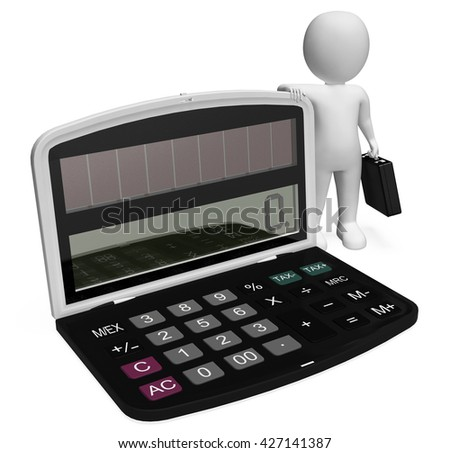 Calculator Finance Indicating Business Person And Character 3d Rendering - stock photo