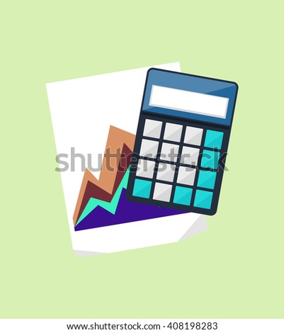 Calculator icon and chart isolated design flat. Calculate finance isolated, accounting and money, calculate tax, paper document chart, financial report data chart  illustration - stock photo