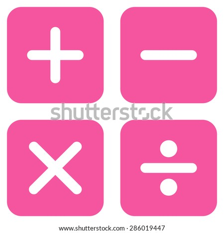 Calculator icon from Business Bicolor Set. This flat glyph symbol uses pink color, rounded angles, and isolated on a white background. - stock photo