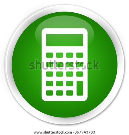 Calculator icon green glossy round button - stock photo