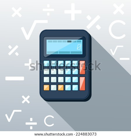 Calculator icon with mathematical symbols multiplication division plus minus construction background in the root flat design long shadow style. Raster version - stock photo