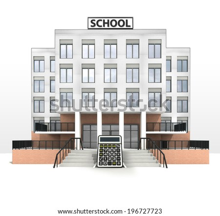 calculator in front of modern school building illustration - stock photo