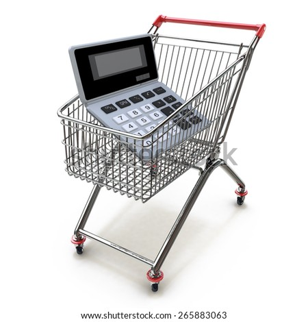 Calculator in shopping trolley cart isolated on white. Financial concept  - stock photo