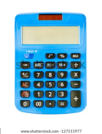 Calculator is made of blue plastic. - stock photo