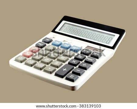 calculator isolated on brown background, equipment for calculating the numbers in business & finance or education - stock photo