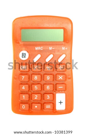 Calculator isolated on pure white background - stock photo