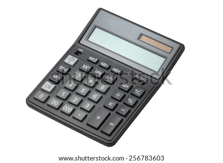 Calculator isolated on white - stock photo