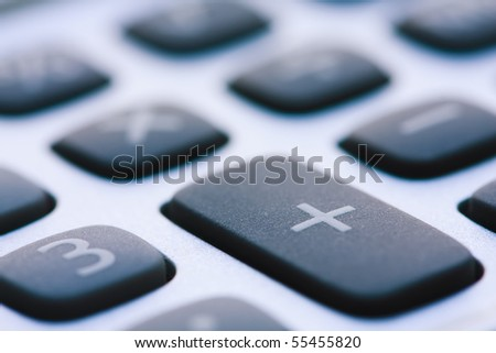 Calculator Keyboard Super Close Up. - stock photo