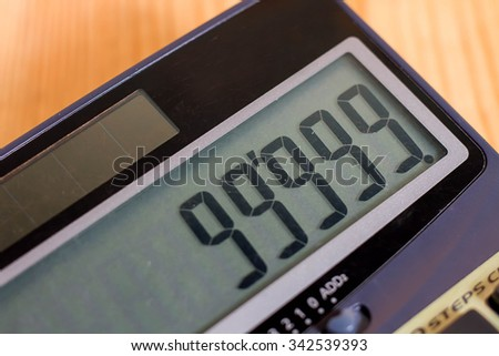 Calculator on a wooden floor - stock photo