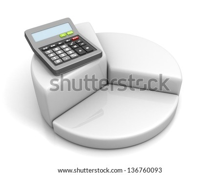 calculator on white pie success financial graph chart - stock photo