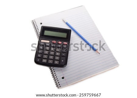 calculator pen and notebook isolated - stock photo