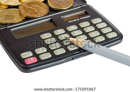 Calculator pencil and coins of different countries, one dollar (U.S.), one euro, one grivna (Ukraine). Close-up. Focus on keys.  Isolated on white background. - stock photo