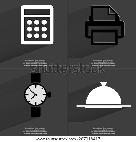 Calculator, Printer, Wrist watch, Tray icon sign. Set of Symbols with Flat design and Long hadows. Raster copy - stock photo