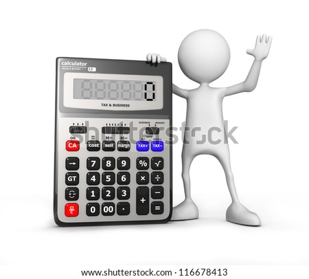 Calculator. Small unrecognizable people on 3D high quality render. Image isolated on white background. - stock photo
