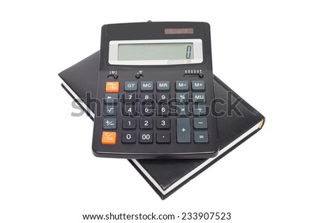 calculator with black notepad on a white background - stock photo