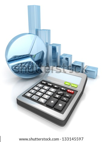 calculator with business pie and bar sucess chart graph - stock photo