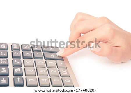 calculator with han - stock photo