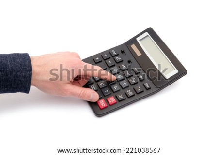 Calculator with hand on white - stock photo