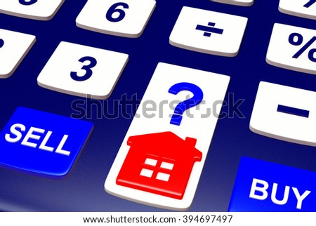 Calculator with House icon and words BUY, SELL close-up. Concept of Real Estate. - stock photo