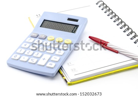 calculator  with notebook and red pen isolated on white background - stock photo
