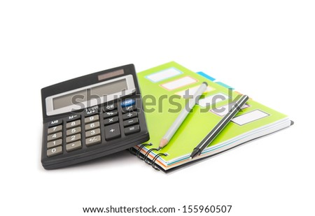 calculator with notepad and pencil isolated on white background - stock photo
