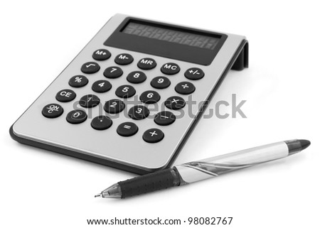 Calculator with pen isolated on white - stock photo