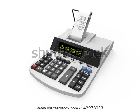 Calculator with Printed Receipt - stock photo