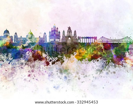 Calcutta skyline in watercolor background - stock photo