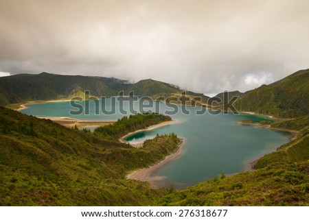 Caldera Lago di Fogo - lake on Sao Miguel Island, Azores, Portugal - stock photo