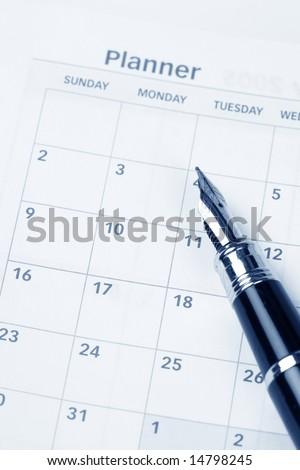 Calendar agenda, schedule, close up shot for background - stock photo