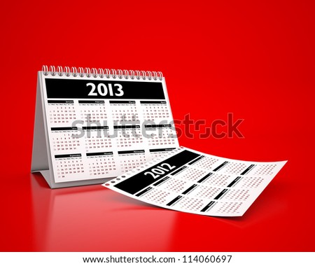 calendar 2013 and 2012 in red background - stock photo