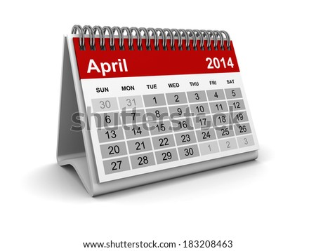 Calendar 2014 - April - stock photo