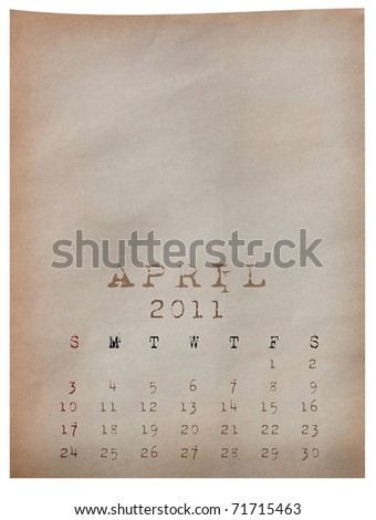 Calendar 2011, April on Old paper background - stock photo