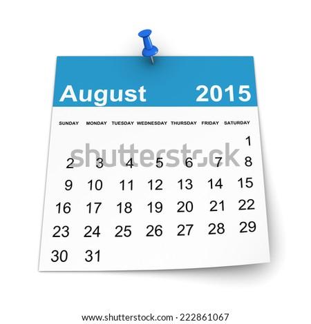 Calendar 2015 - August - stock photo