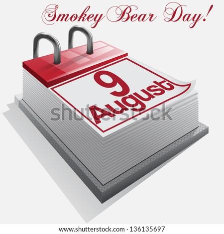 calendar 9 August, Smokey Bear Day . Vector - stock photo