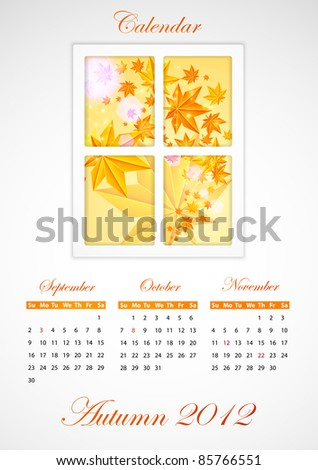 Calendar. Autumn 2012 - stock photo