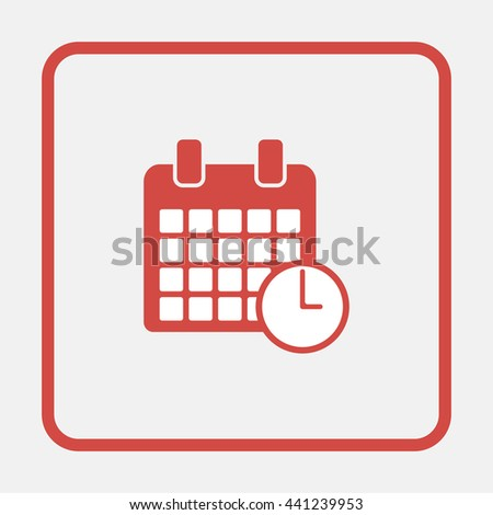 Calendar clock icon. - stock photo