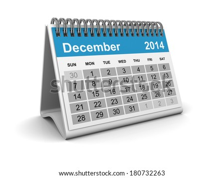 Calendar 2014 - December - stock photo