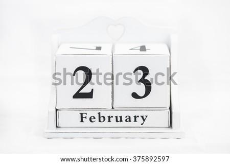 calendar february date winter wood - stock photo