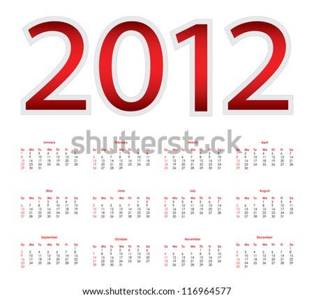 Calendar for 2012 - stock photo